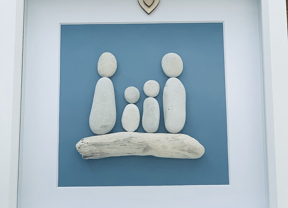 Family of 4 Pebble Artwork
