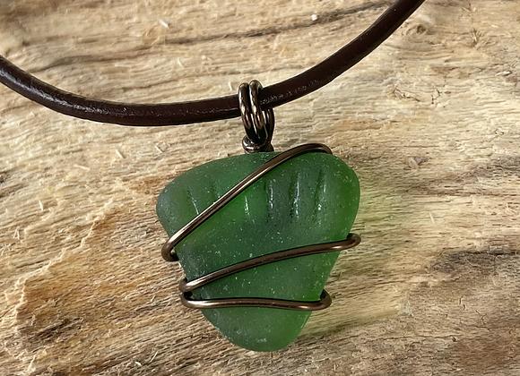 Bright Green Seaglass Necklace