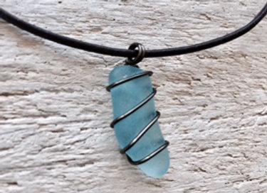 Pale Blue Seaglass Necklace