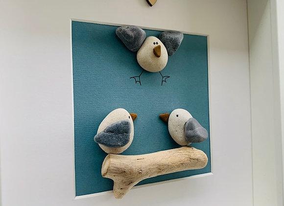 Family of 3 Seagulls Artwork