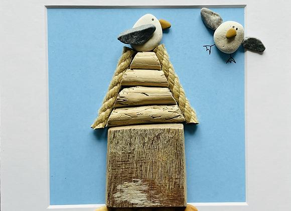 Beach Hut Driftwood and Pebble Artwork