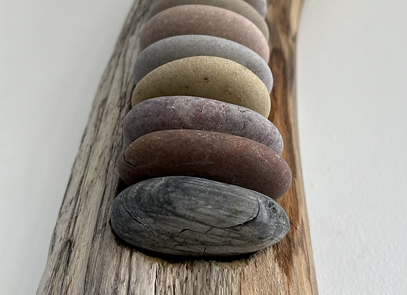 Driftwood Wall Art with Pebbles