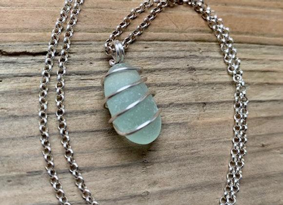 Seafoam colour Seaglass Necklace
