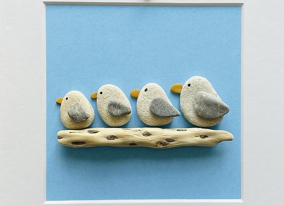 Family of Four Seagulls Artwork