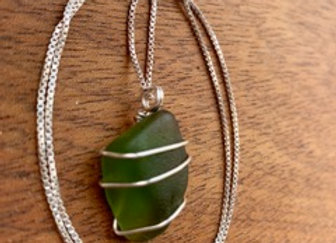 Deep Green Seaglass Necklace