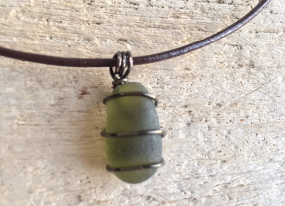 Olive Green Seaglass Necklace