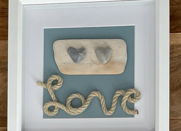 'Love' Driftwood Pebble and Rope Artwork
