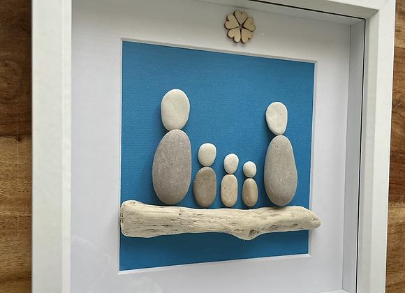 Family of 5 Pebble Artwork