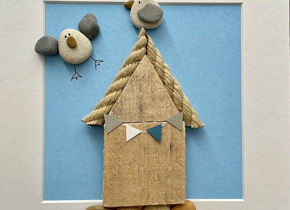 Beach Hut Driftwood and Pebble Artwork