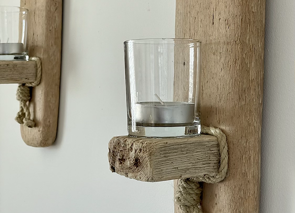 Pair of Driftwood Wall Sconces with candles