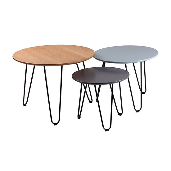 Conjunto mesas centro Amanda roble,azul y gris