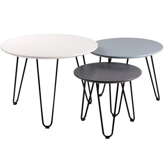 Conjunto mesas centro Amanda blanco, azul y gris