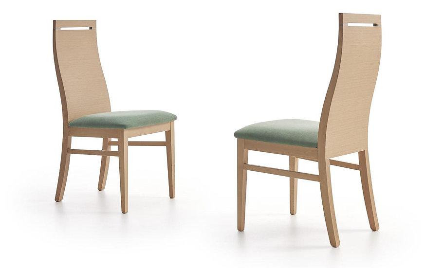 Silla respaldo madera asiento tapizado 241 tela antimanchas Aquaclean a