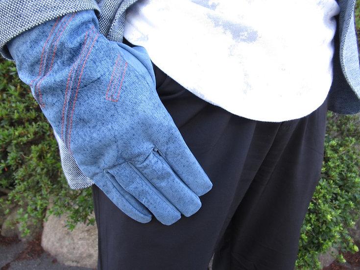 デニム風 牛革メンズ手袋 12172