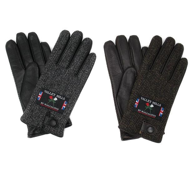 【0012730AR ブリティッシュウール&レザー手袋】(メンズ25cm )
