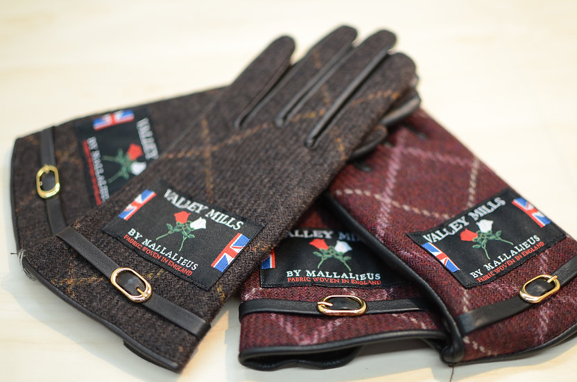 【ブリティッシュウール&レザー手袋】(レディース22cm 13282)
