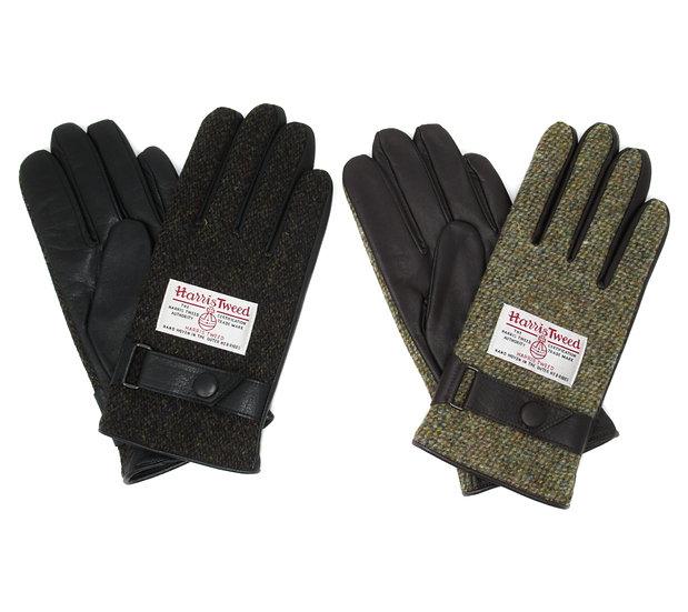 【0012731AT Harris Tweed &レザー手袋】(メンズ25cm )