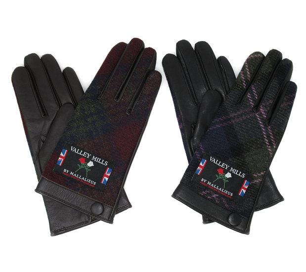 【0013281AR ブリティッシュウール&レザー手袋】(レディース23㎝ )