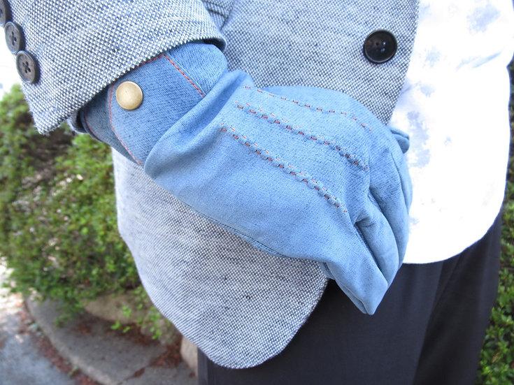 デニム風 牛革メンズ手袋 12173