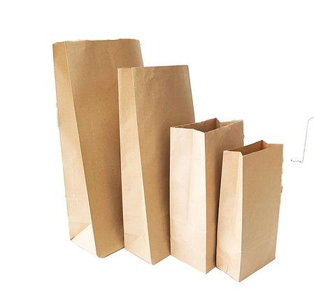 Kraft Paper Block Bottom Bags - Pack of 5