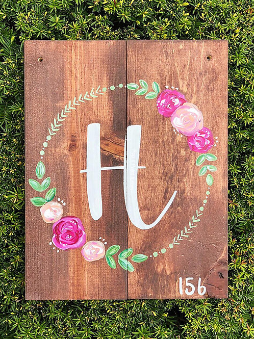 #58- Wooden Monogram Wreath