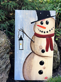 Snowman and lantern