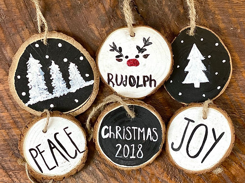 Ornaments - Wooden Black and White Set
