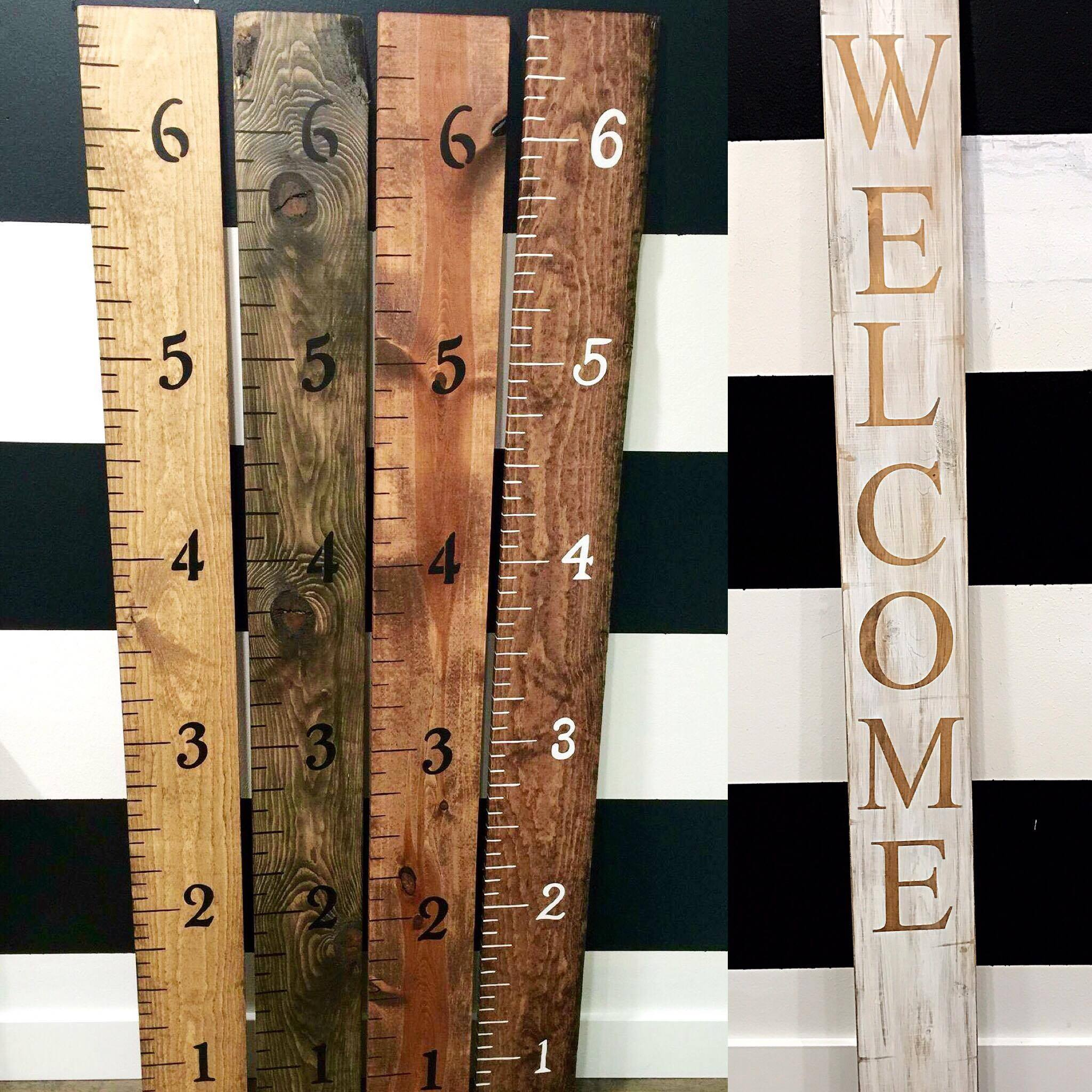 Ruler and Welcome sign