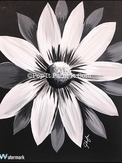 #12- Black and White Flower