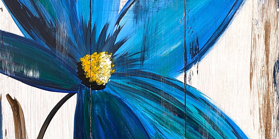 Feb.7- Wooden Blue Flower