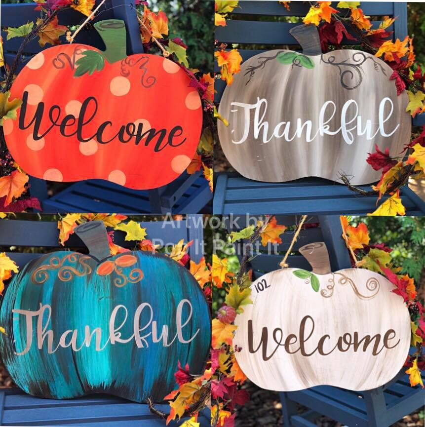Wood pumpkin door hangers