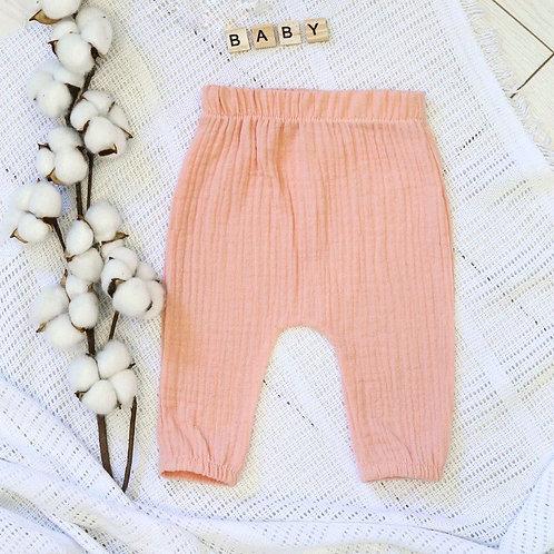 Муслиновые штанишки для малышей (персиковые)