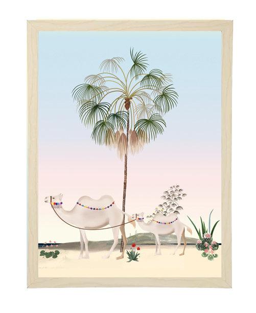 tableau, affiche, poster, palmier, chameau, camel, cactus, palmer, desert, oasis