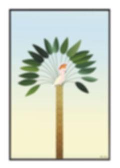 Tableau , dessin, palmier, perroquet, illustration, draw, déco, paper, designer, mllemouns