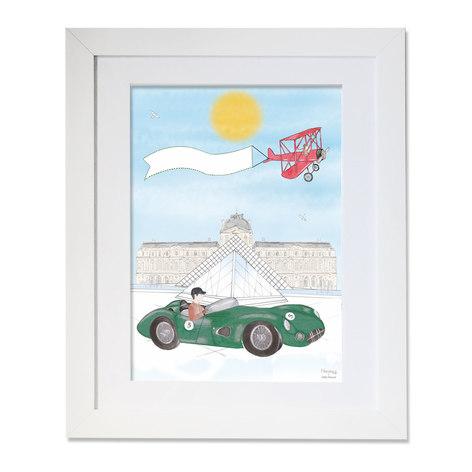 maison juli, louvre, ferrari, paris, illustration, dessin, aquarelle, mlle mouns, louvre, voiture de course