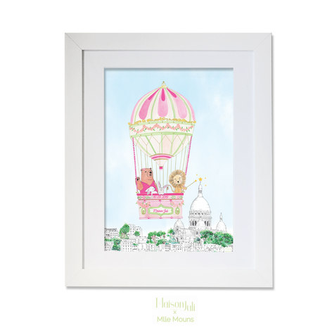 maison juli, ours, lion, horses, montgolfière, paris, montmartre, illustration, dessin, aquarelle, mlle mouns