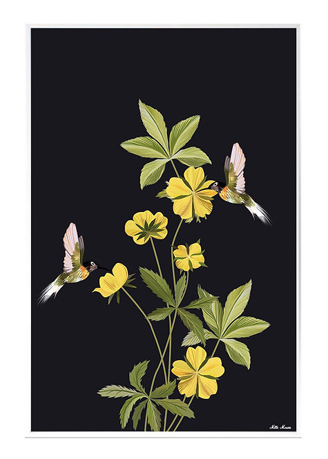 tableau, affiche, poster, chinoiserie, jaune, vegetation, colibri, flower, fleur