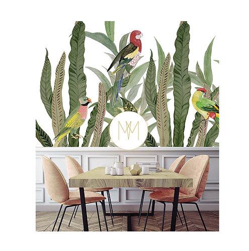 Parrots, perroquet, papierpeint, wallpaper, fresque, wallart, vegetation, papier peint panoramique