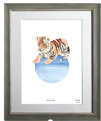Tigre, neptune, planète, animal, maison juli, illustration, aquarelle, dessin