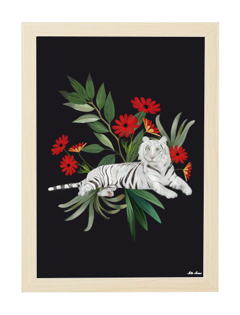 tableau, affiche, poster, tigre, blanc, tiger, white, flower, red, rouge