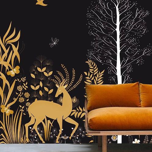 foret, papierpeint, tapisserie, panoramique, wallpaper, walldeco, fresque, vegetation, panoramic, decormural
