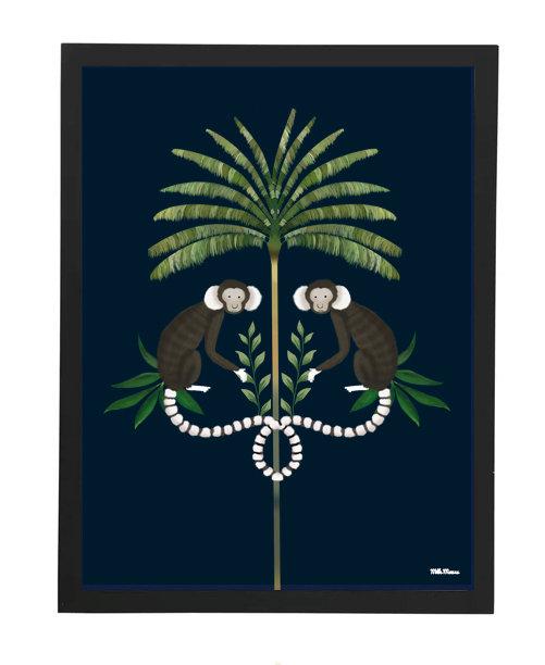 tableau, affiche, poster, monkey, palmer, singe, palmier
