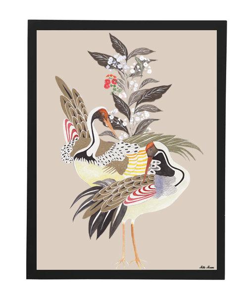 tableau, affiche, poster, oiseau, fleur, rouge , graphique, japonese