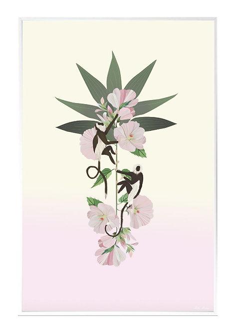 tableau, affiche, poster, monkey, singe, fleur, vegetation