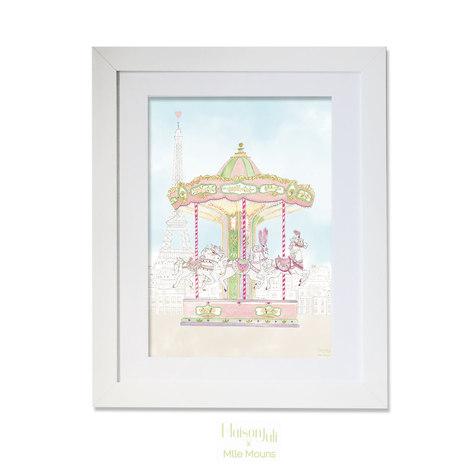 maison juli, carouselle, cheval, horses, paris, manège, tour eiffel, illustration, dessin, aquarelle, mlle mouns