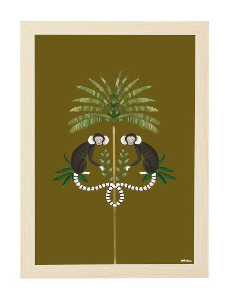 tableau, affiche, poster, monkey, singe, palmier, palmer