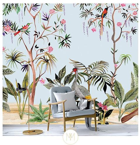 Tropical, vegetal, papier peint, wallpaper, papier peint japonais, papier peint fleurs, wallpaper, wallpapers, chinoiserie