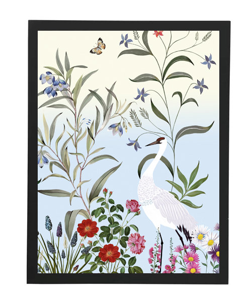 tableau, affiche, poster, savane, palmier, palmer, cranerouge, oiseau, bird, vegetation, flower, fleur