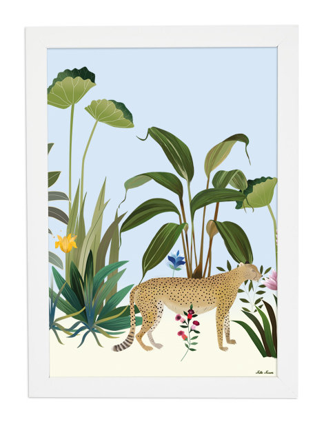 tableau, affiche, poster, leopard, savane, jungle, vegetation