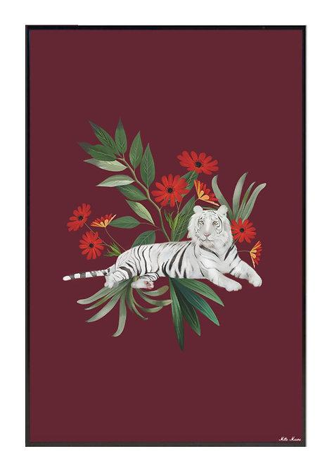 tableau, affiche, poster, tigre, tiger, vegetation, flower, fleur, rouge